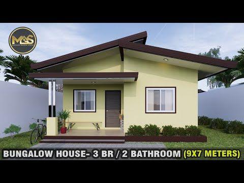 Small House Design Idea 9x7meter 3 Bedroom 2 Bathroom Youtube Small House Roof Design Small House Design Village House Design