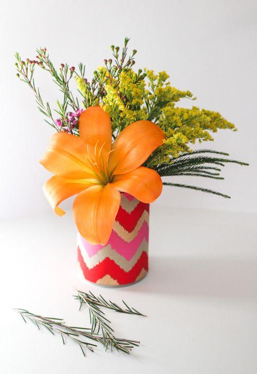 DIY Soup Can Flower Vases.Diy Home Decor, Decor Crafts, Orange Flower, Flower Pots, Flower Vases, Diy Vases, Diy Soup, Crafts Diy, Diy Projects