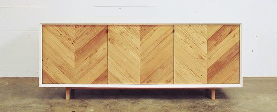Mid Century Modern Credenza White Wood Herringbone DÉcor Furniture