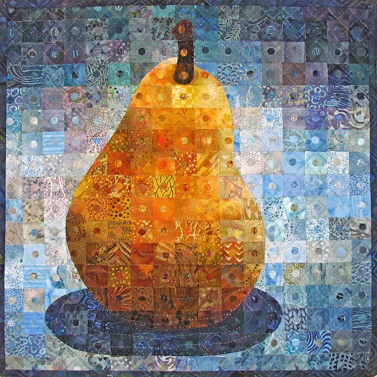 "Pear Each inch piece was hole punched and backed with a second fabric. 13""x13"" by Nancy Messier"