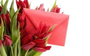 Обои весна, beautiful, Spring, bouquet, lovely, конверт, 8 марта, тюльпаны, Tulips, романтика, письмо, red