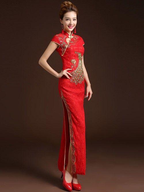 Ankle-length Lace Cheongsam / Qipao / Chinese Wedding Dress