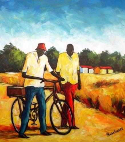 Acrylic Painting - Friends Chatting by Peter Kwangware