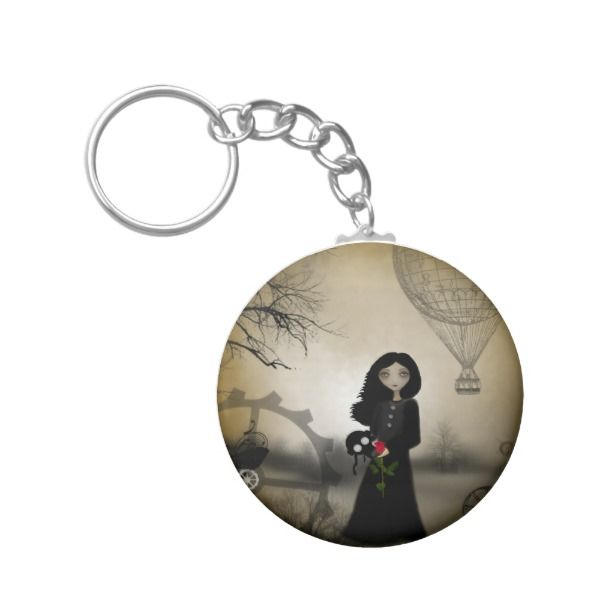 """Every Rose Has It's Thorn Steampunk Art Keychain -  Merchandise featuring my original digital steampunk painting, """"Every Rose Has It's Thorn"""".        ... #custom #Steampunk Themed  #gift #keychain design by #RusticGoth - #keychain #steampunk # #merchandis"""