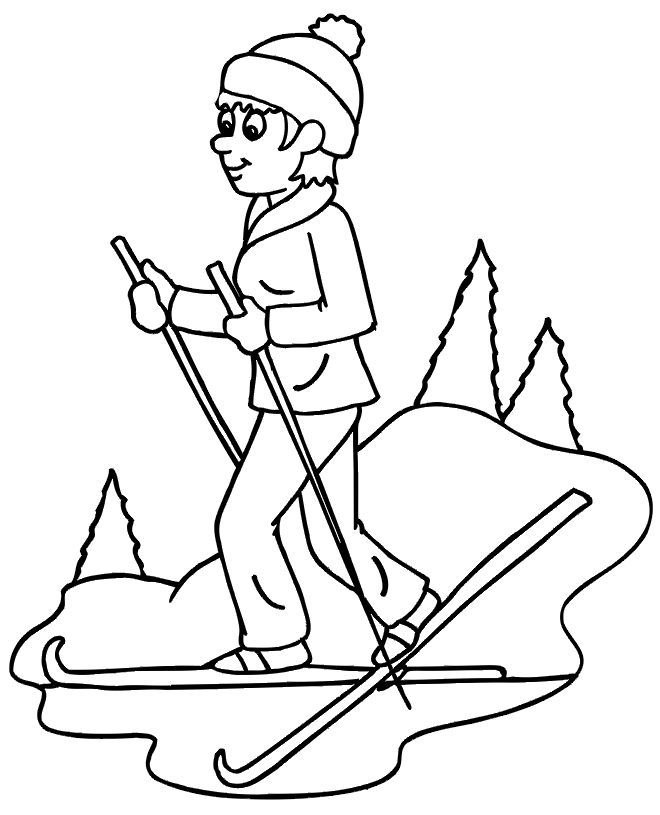 Skiing Coloring Page | A Woman Cross Country Skiing