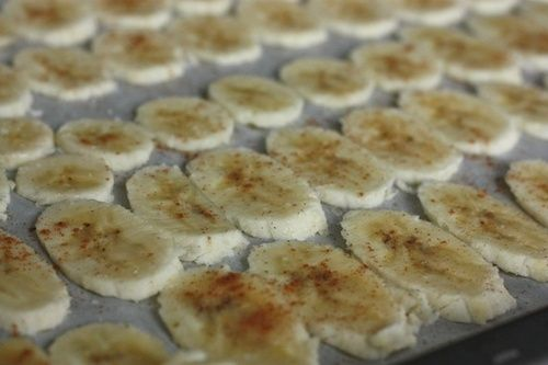 "Baked Banana Chips - toddlers love these! Slice bananas very thin (1/8""), brush with lemon juice mixed with just a little water, sprinkle with cinnamon and kosher salt. Bake at 250F for about 2 hours, turning after 90 mins. Let cool (the longer they cool the crispier they become). Smear a little peanut butter between them if you like. Perfect sweet little treat!"