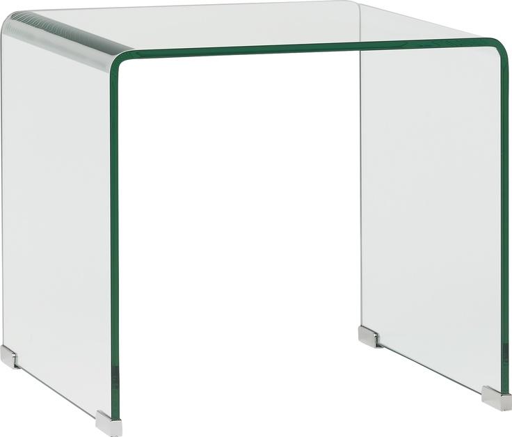 Gala sidebord i herdet glass. Dimensjoner: L45 x H41 x D45cm. Kr. 1690,-