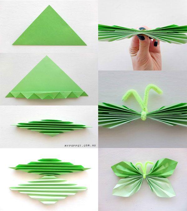 Vouw vlinders van verschillende kleuren papier en maak een slinger of een mooie collage