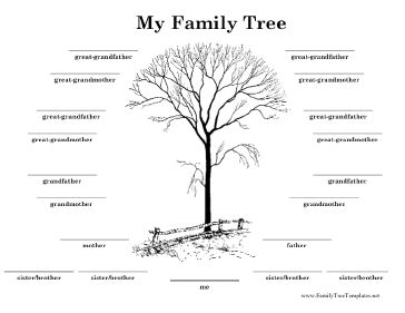 This black and white family tree is designed with one side of the family in a semi-circle around a winter tree. It covers four generations, to great-grandparent level, and also has room for four siblings. Free to download and print