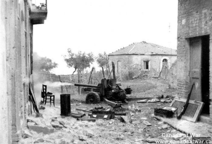 Ortona - Six Pounder firing, 21 December 1943.