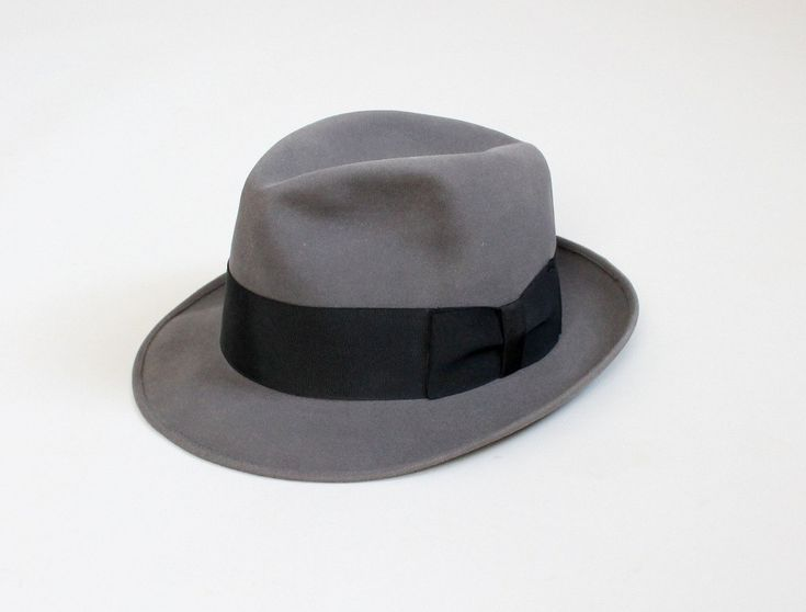 Vintage 1950s Mens Grey Dobbs Fedora.