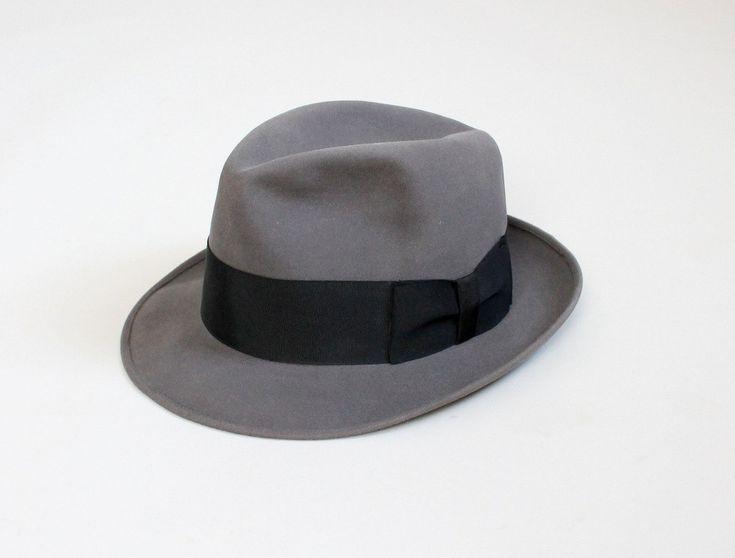 Etsy vintage 1950s fedora 50s mens grey dobbs hat size 7 3 8 vintage