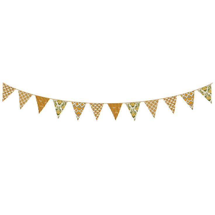 TAFTAN - SLINGERS - VLAGGETJES - RETRO. Hippe slinger met katoenen vlaggetjes, beide zijden van retro stof. Lengte 2,5 mtr. #taftan #retro #kinderkamer #vlaggetjes #babykamer #slingers