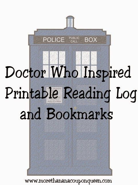 Free Doctor Who Inspired Printable Reading Logs and Bookmarks A Tardis plus a bow tie = Geronimo bookmark
