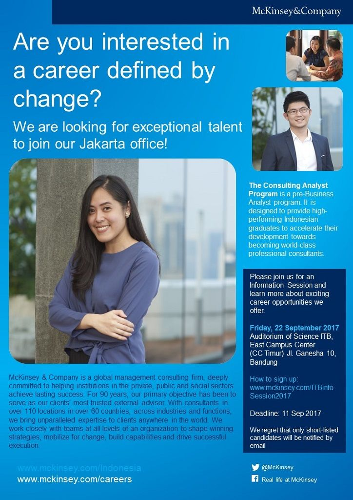 JOIN! McKinsey: Company Information Session | Friday, 22 Sep 2017 | Auditorium CC Timur ITB | Registration before 11 Sep >> http://bit.ly/2gFeSCf