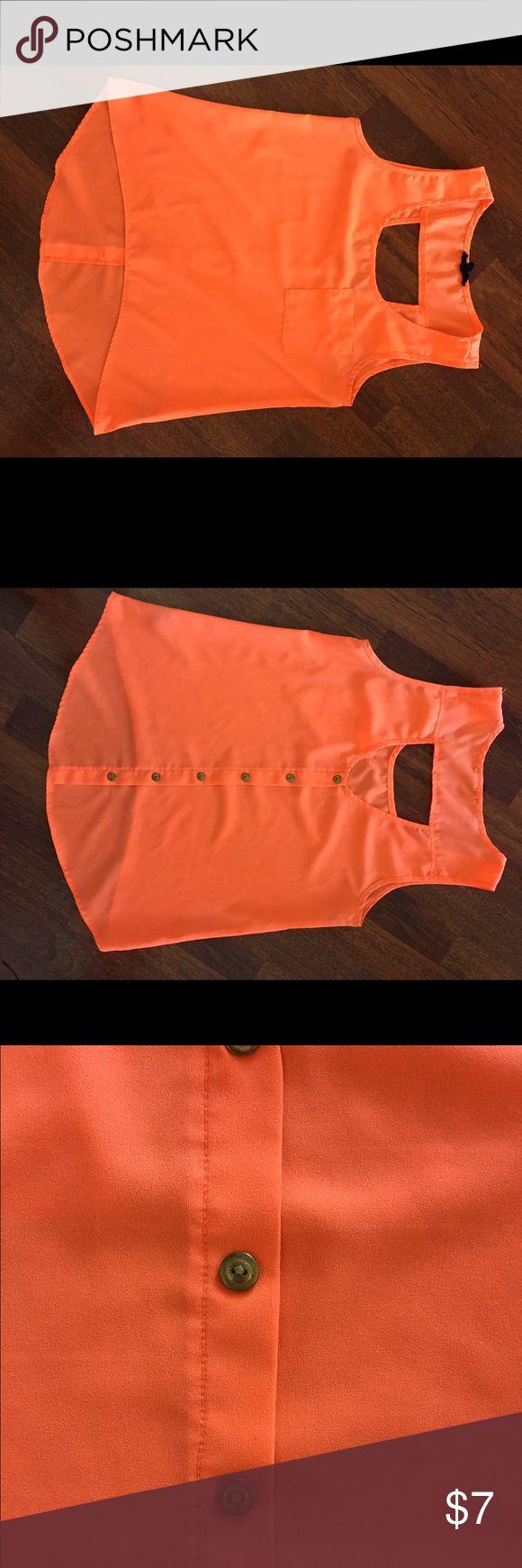 Bright Orange Dress Shirt Brass buttons down back! Great work shirt! Tops Blouses