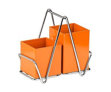 Держатель для столовых приборов - металл - оранжевый, 9х18х18 см