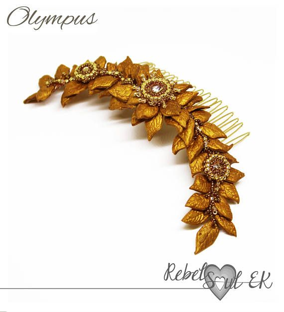 Gold leaf headband golden leave wreath crystal headpiece