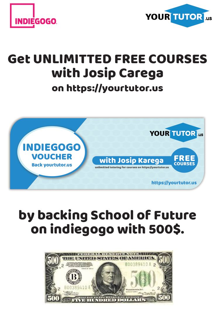 Back us with 500$ and get unlimited free courses with Josip Carega! #freecourses #unlimittedfreecourses #schooloffuture #virtualclassroom