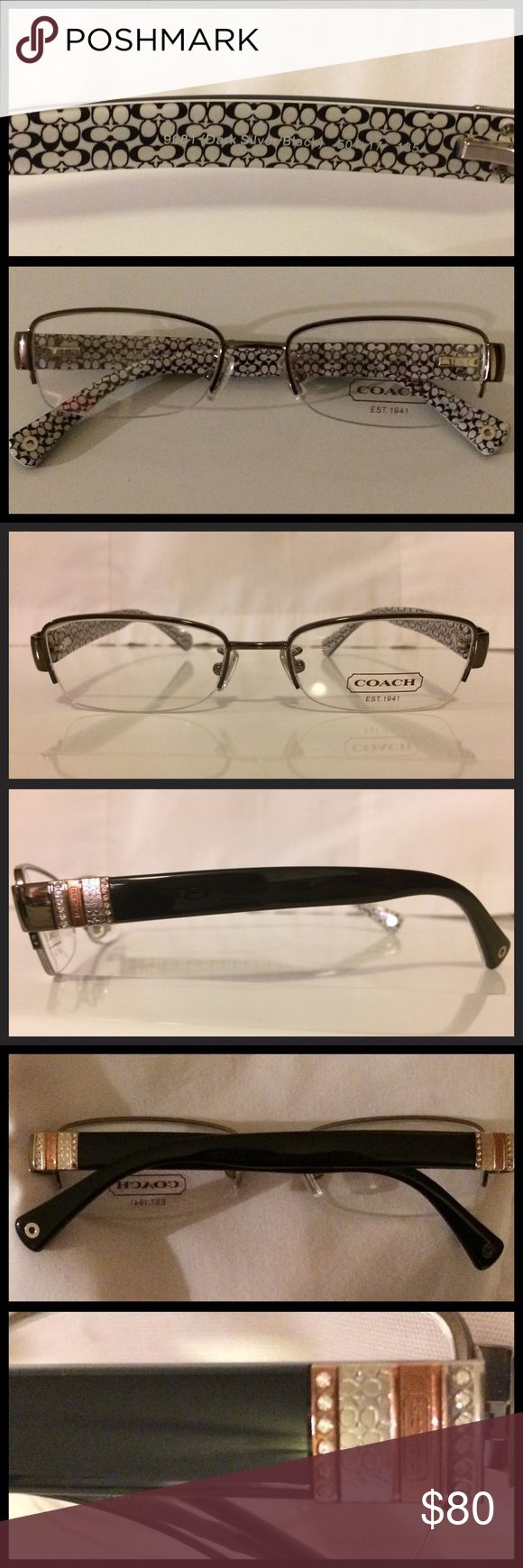 Authentic Coach Eyeglasses Cecily Dark Silver New unused frames only. Authentic Coach. Cute stylish colors! Coach Eyeglasses Cecily HC5027B 9081 Dark Silver front frame, Black and white coach, rose gold coach symbol. Demo Lens. Style- Rectangle Lens- Demo Material- Metal Size- Eye:50 or 52mm-Bridge:17mm-Temple:135mm. Frames only. Price firm. No trades Coach Accessories Glasses