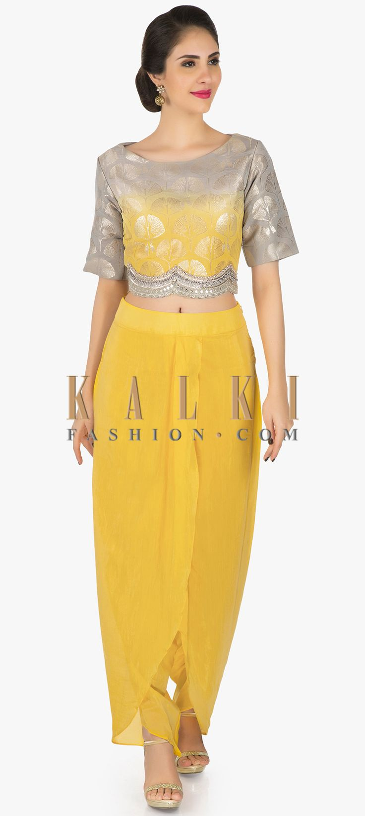 Yellow and grey shaded dhoti suit enhanced in mirror and cut dana work only on Kalki