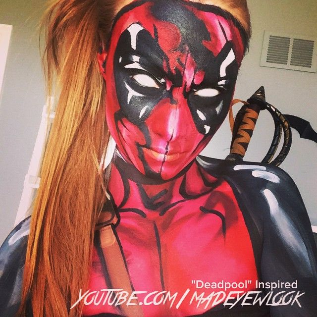 """""""Female #deadpool tutorial TONIGHT on @youtube .com/MadeYewLook! My eyeballs are edited white, as my white contacts cracked () Taken on my phone, I'll have a better photo later! """" Photo taken by @creativeboss on Instagram, pinned via the InstaPin iOS App! http://www.instapinapp.com (03/18/2015)"""