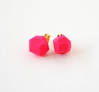 Geo Earrings: Spring Color, Pink Studs, Pink Earrings, Hot Pink, Neon Studs, 2 Pink, Bling Things Junk, Neon Pink, Geo Earrings