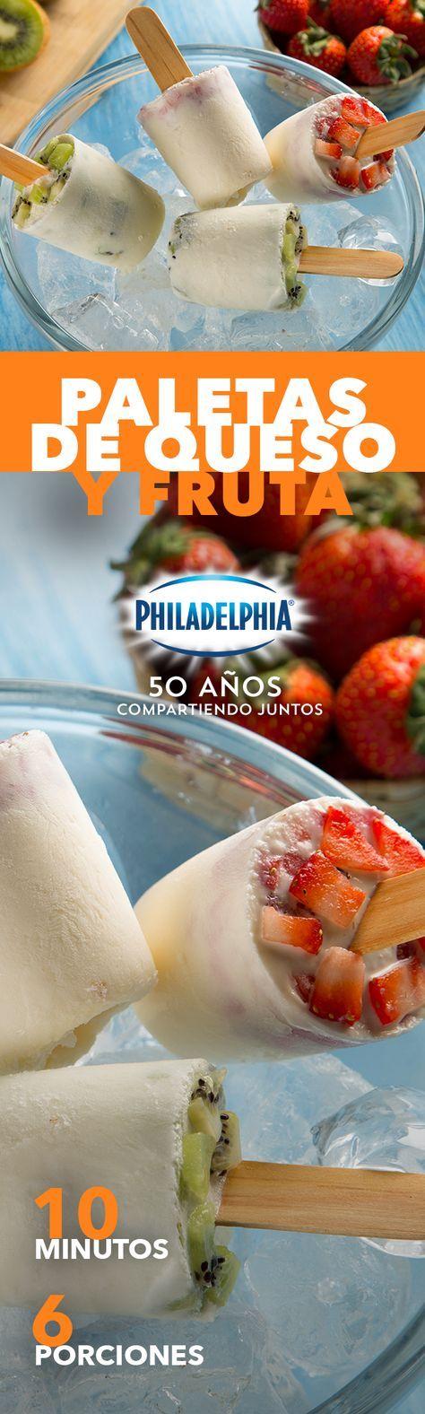Te conocemos tanto que sabemos que siempre buscas algo refrescante para le postre. #recetas #receta #quesophiladelphia #philadelphia #quesocrema #queso #comida #cocinar #cocinamexicana #recetasfáciles #recetasPhiladelphia #recetasdecocina #comer #fruta #paletas #helado #paletasheladas #paletasdefruta #frutas #fresa #kiwi #durazno #postre #postres