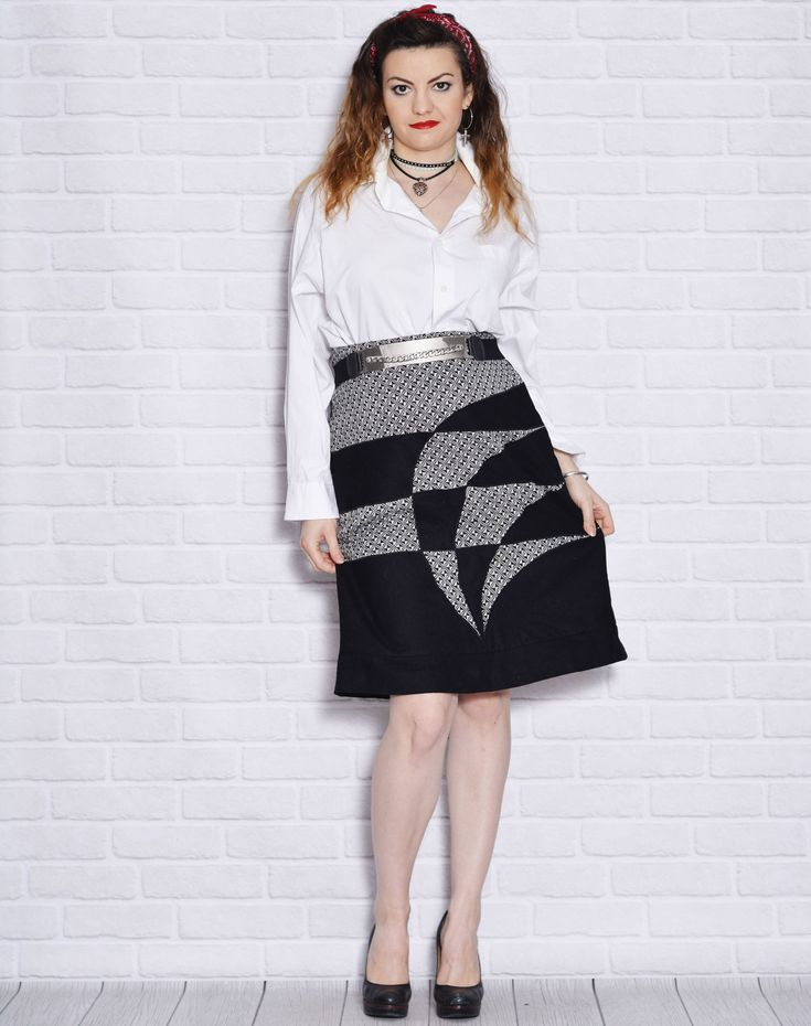 Geometric Skirt Black and White Pattern Skirts Wool Vintage Short Women Secretary Edgy Sheath Clothing High Waisted Waist Boss http://etsy.me/2EIiuPK #clothing #women #skirt #birthday #black #white #lxlextralarge #geometricskirt #blackandwhite