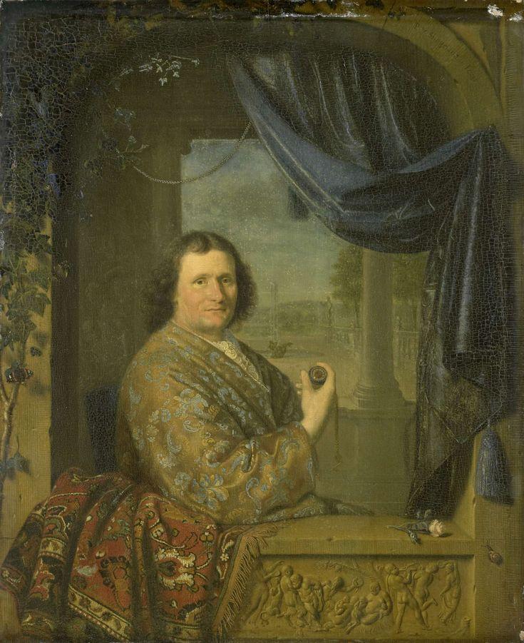 Pieter Cornelisz. van Slingelandt | Portrait of a Man with a Watch, Pieter Cornelisz. van Slingelandt, 1688 | Portret van een man met een horloge in de hand, zittend in een stenen venster. Onder de vensterbank een reliëf met een bacchanaal. Op de vensterbank links een Perzisch kleed, rechts een roos. Op de achtergrond door een zuilengalerij een gezicht op een tuin met fontein.