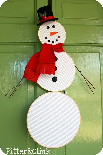 Snowman made out of embroidery hoops