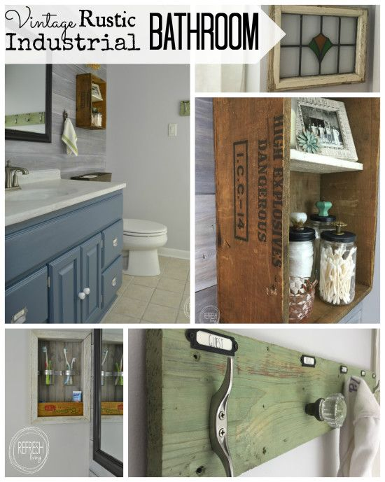 complete bathroom makeover for $200   budget bathroom remodel   vintage rustic industrial bathroom   modern farmhouse bathroom