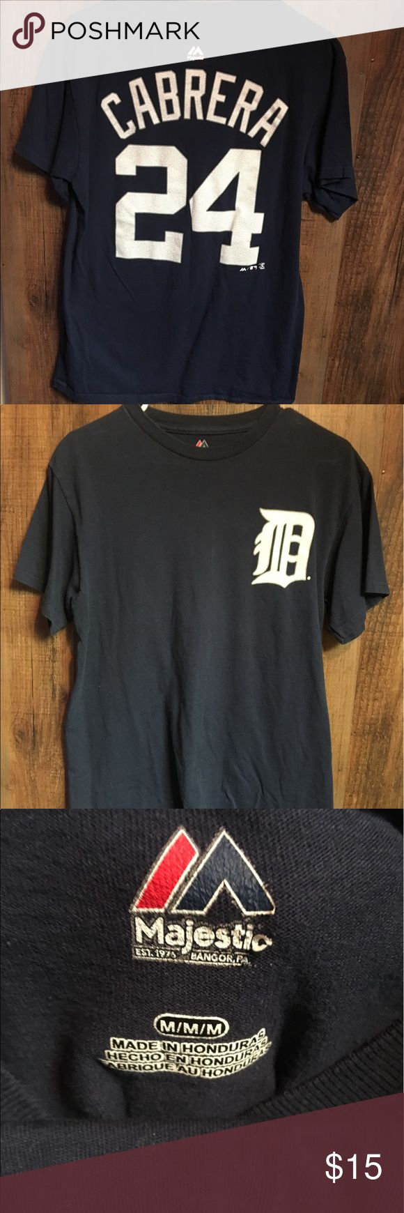 Majestic Detroit Tigers Miguel Cabrera Player Tee Gently worn Majestic Detroit Tigers Miguel Cabrera Player Teeshirt. In good condition with no major flaws. Can be worn as Men's Medium or Women's Large Majestic Shirts Tees - Short Sleeve