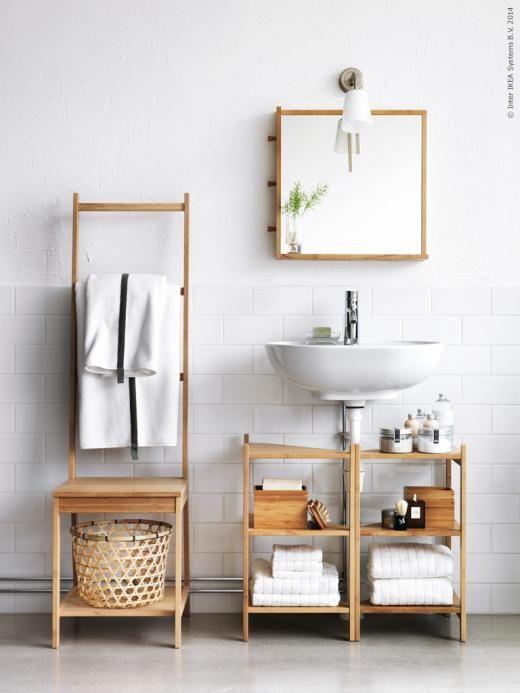 RÅGRUND badrumsserie i bambu förnyar badrummet på ett kick! BASISK väggspot, FÄRGLAV badhandduk, DRAGAN badrumsset i 2 delar,  ÅFJÄRDEN handdukar.