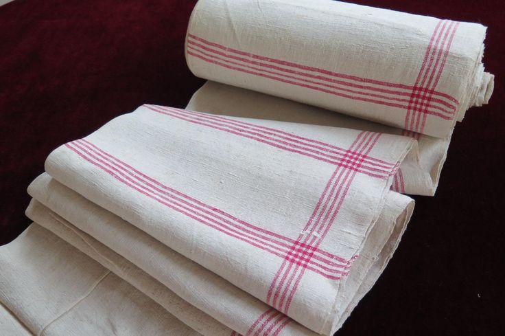 """Antique """" Leinen /Rolle - Ballen ca. 1890/1910 """" handgewebte Handtücher mit roten Streifen - 438cm Tischläufer Kissen Hochzeit ! von Linenandtextiles auf Etsy"""