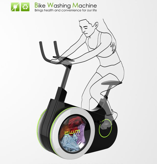 """""""Designers at China's Dalian Nationalities University have created the Bike Washing Machine, a combination bicycle and laundry machine that lets users exercise and wash their clothes at the same time. The machine replaces the front wheel of a traditional bicycle with a washing machine drum, and as the user pedals they can power a display screen or store the generated electricity."""""""