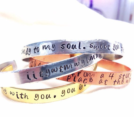 Create your own custom quote or song lyric hand stamped aluminum bracelet lyrics music custom 15