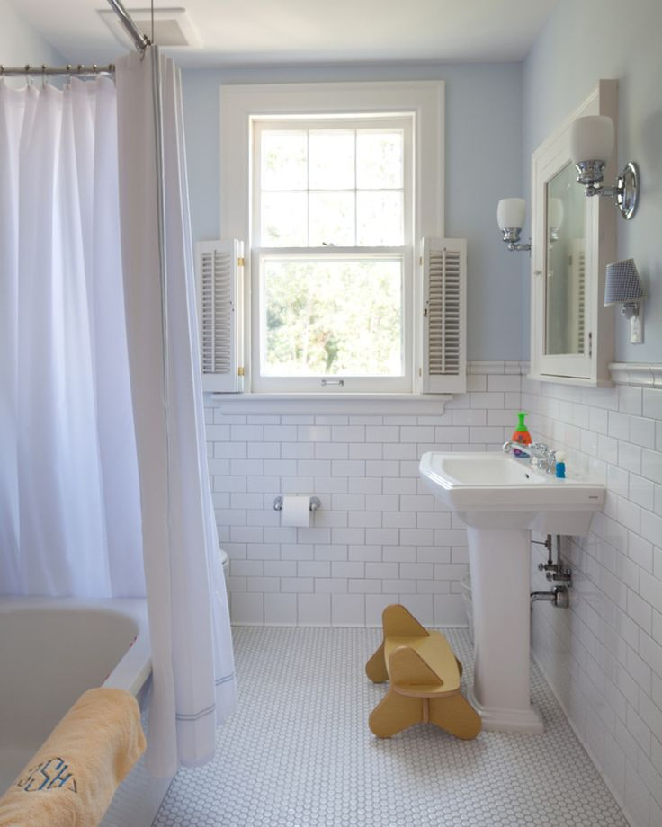 Foxy White Subway Tile In Bathroom Decor Ideas in Bathroom Traditional design ideas with Foxy blue cottage medicine cabinet modern penny tile shutters stool subway tile tiled