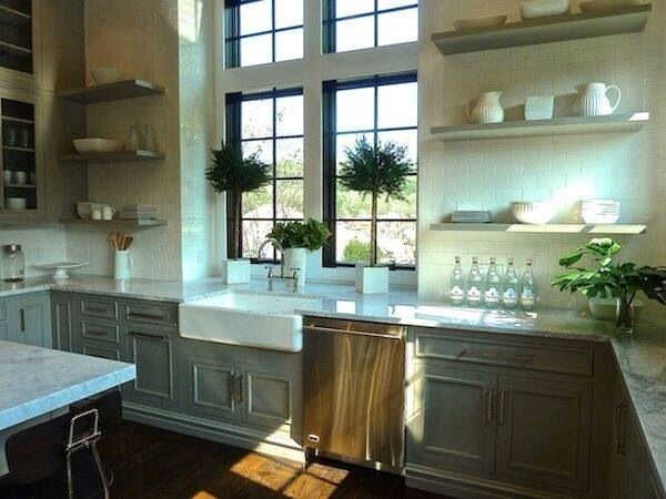 Kitchen window decor - topiary and shelves