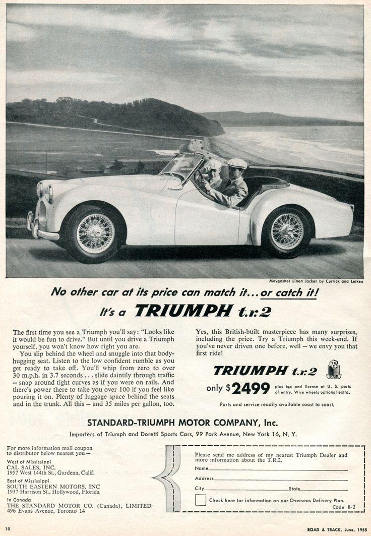 Best 25 triumph car ideas on pinterest british car triumph tr3 1955 triumph tr2 advertisement road track june 1955 my dads car riding in sciox Choice Image