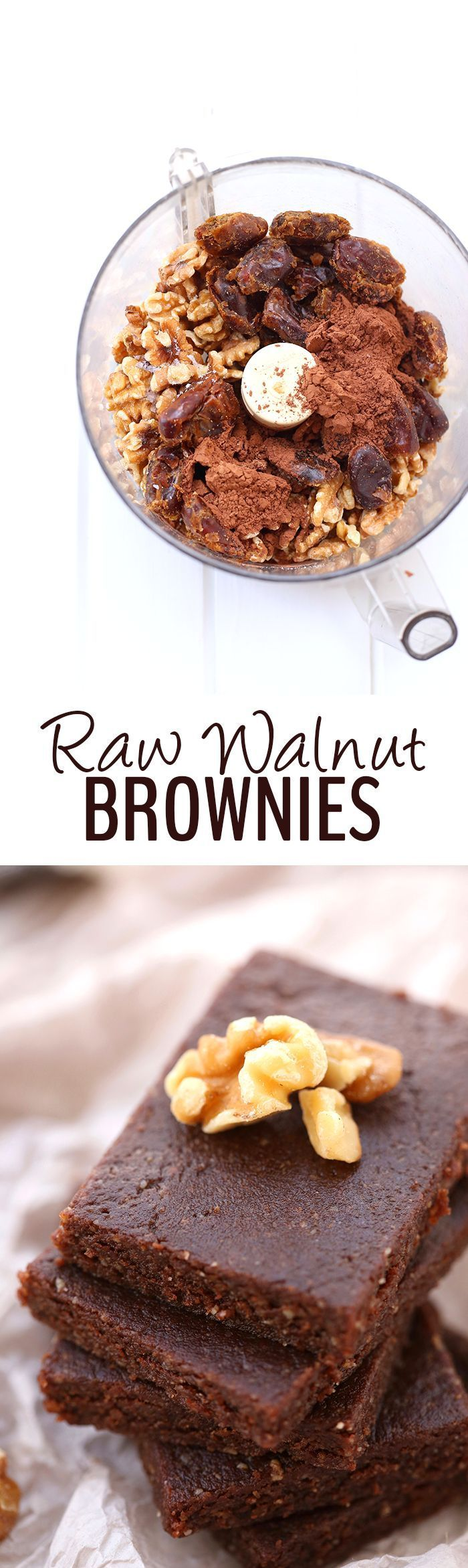 4 ingredients is all you need to make these Raw Walnut Brownies. They're gluten-free, vegan, paleo and refined-sugar-free but also taste incredible! Plus they take 5 minutes to whip up. (Bake Face)