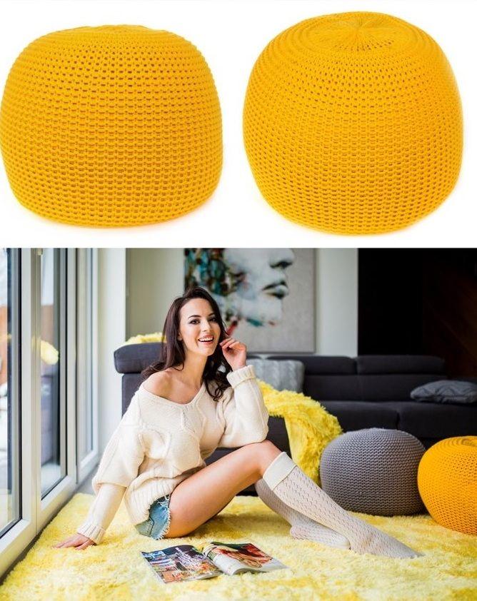 Moderná pletená taburetka žltej farby