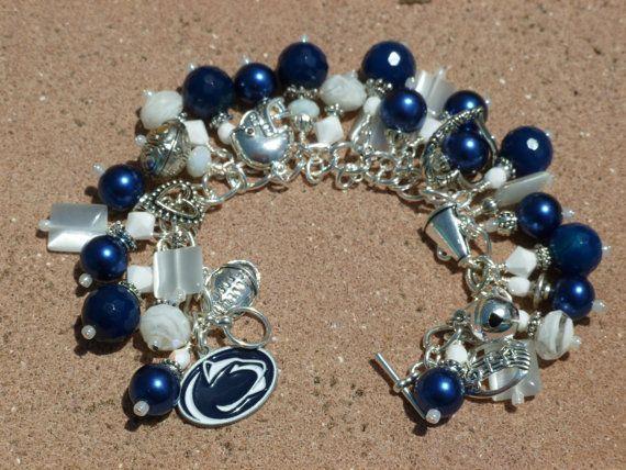 PENN STATE ooak Pennsylvania University Littany Lions Charm Bracelet. $68.00, via Etsy.