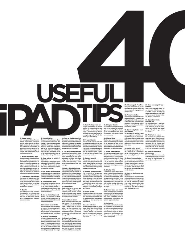 40 Useful iPad Tips Poster by Alex Gebhardt, via Behance