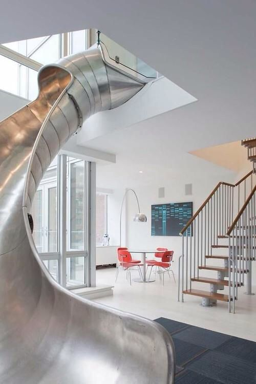 Living room with a slide.
