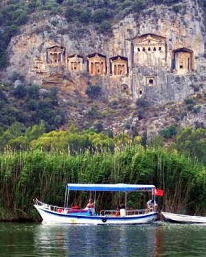 The stone graveyards in Dalyan, Muğla. If you ever visit, you have to do a boat trip, amazing place
