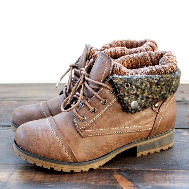 Adorable cozy sweater boots with sock detailing adornsthese leather booties. Featuring a laced up front. Comfy and stylish for this upcoming fall's weather. Su