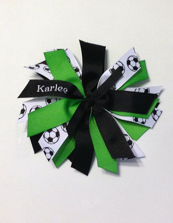 Personalized Soccer Ribbon Spike Spirit Hair Bow lime green and black Spikes-Medium on Etsy, $9.00