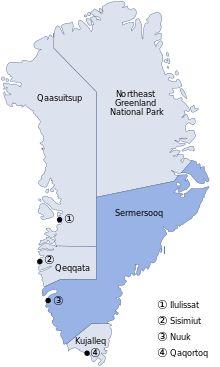 kort over kommunerne i Grønland