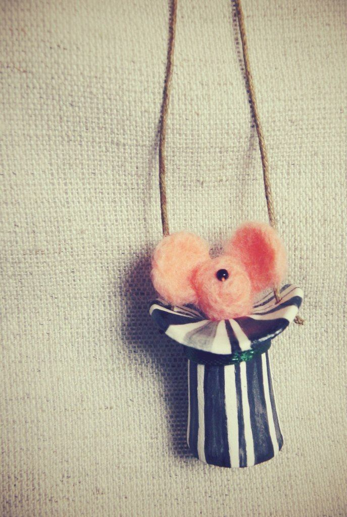 accessories , ceramic , hand made , mouse , felting